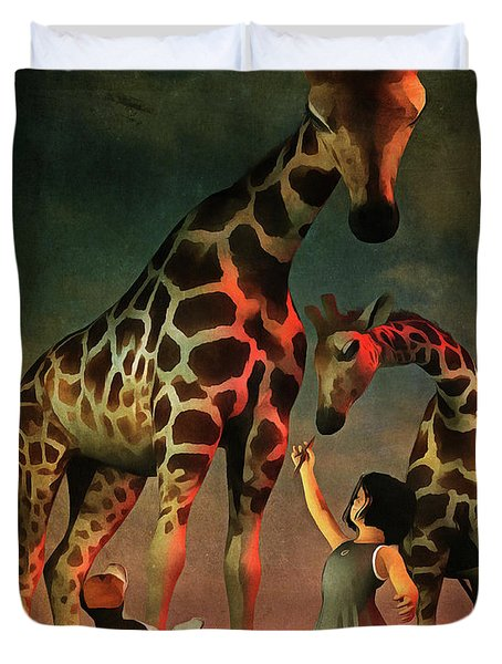 Amy And Buddy With The Giraffes Duvet Cover