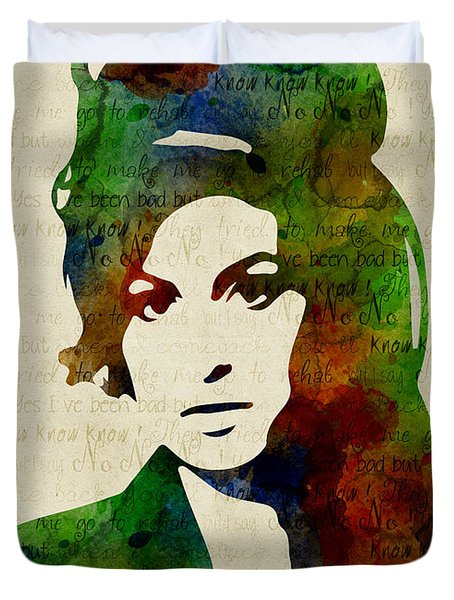 Amy Winehouse Watercolor Duvet Cover