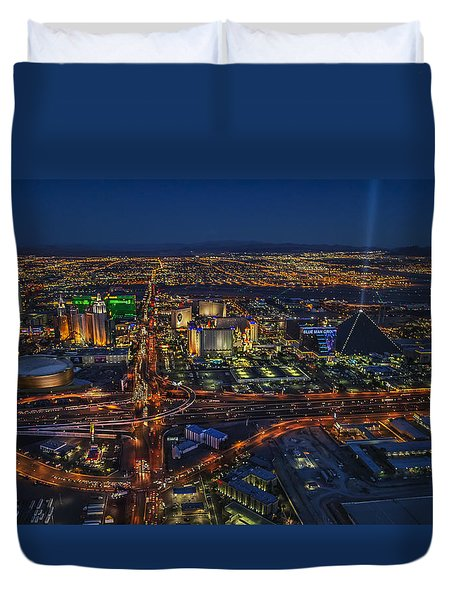 An Aerial View Of The Las Vegas Strip Duvet Cover
