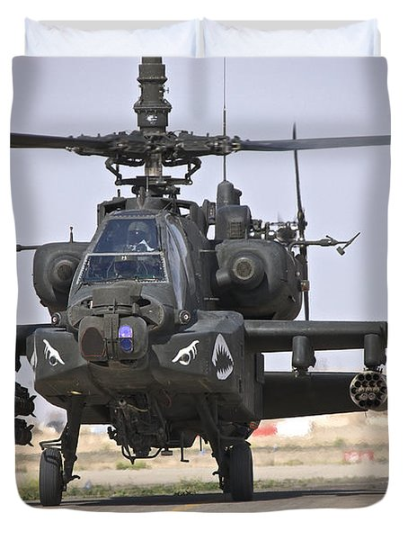 An Ah-64 Apache Helicopter Returns Duvet Cover by Terry Moore