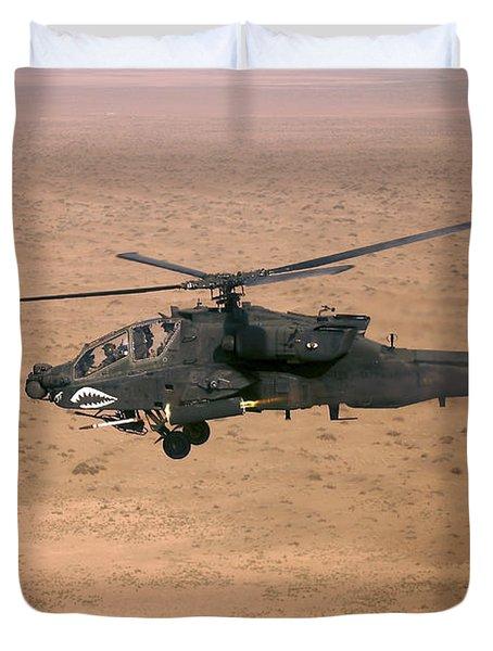 An Ah-64d Apache Longbow Fires A Hydra Duvet Cover by Terry Moore