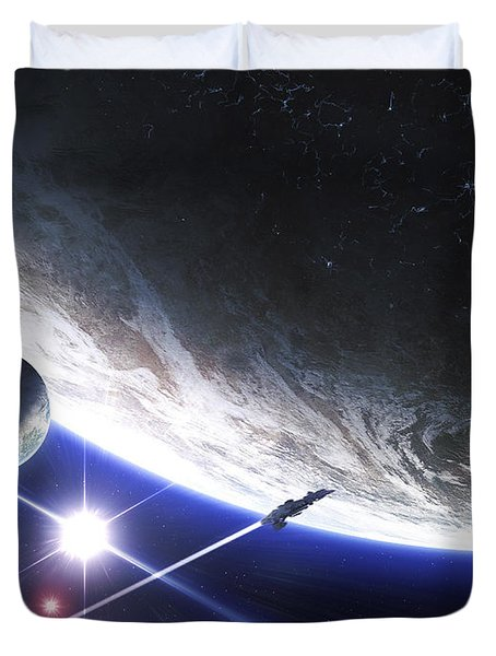 An Alien Patrol Zooms Duvet Cover by Kevin Lafin