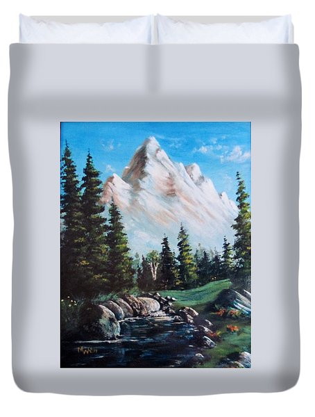 An Alpine Stream Duvet Cover by Megan Walsh