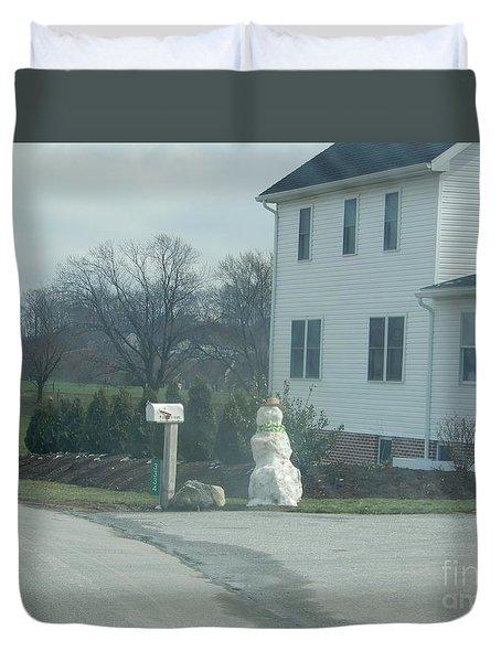 An Amish Snowman Duvet Cover