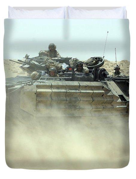 An Amphibious Assault Vehicle Kicks Duvet Cover by Stocktrek Images