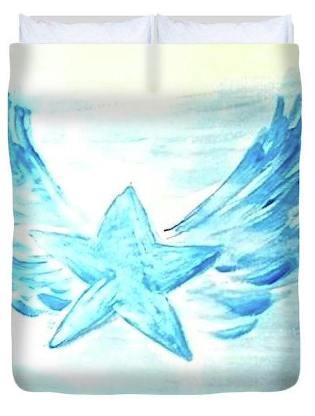 Duvet Cover featuring the painting An Angel Gets Her Wings by Margaret Welsh Willowsilk