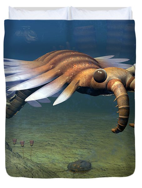 An Anomalocaris Explores A Middle Duvet Cover by Walter Myers