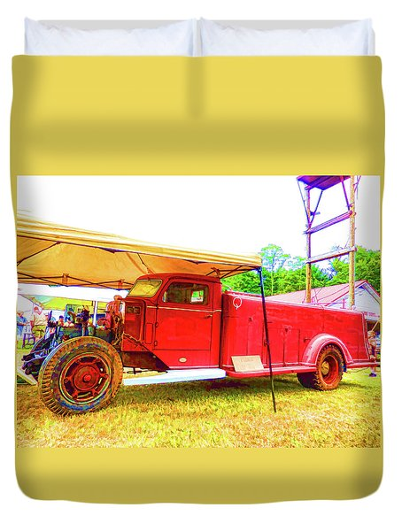 An Antique Fire Department Vehicle On Display 1 Duvet Cover by Lanjee Chee