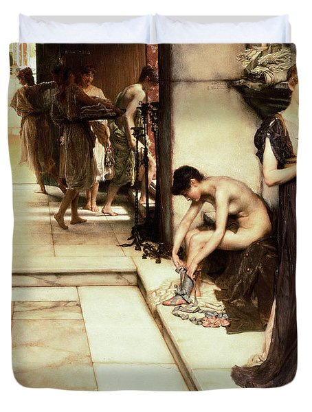 An Apodyterium Duvet Cover by Sir Lawrence Alma-Tadema