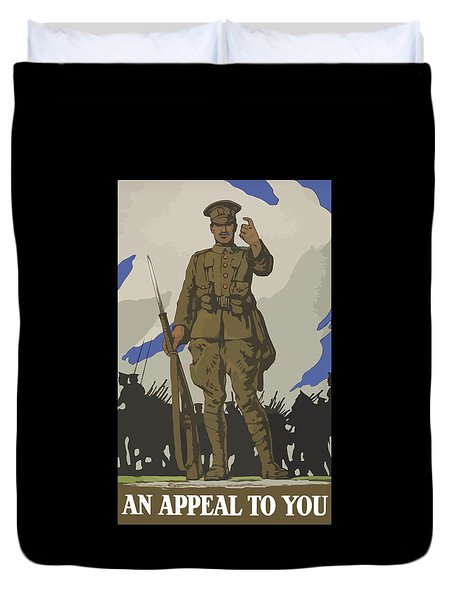 An Appeal To You Duvet Cover by War Is Hell Store
