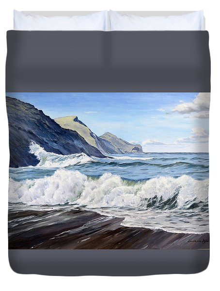 Duvet Cover featuring the painting An April Morning At Crackington Haven by Lawrence Dyer