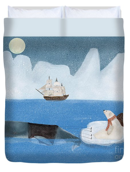 Duvet Cover featuring the painting An Arctic Adventure by Bri B