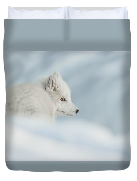 An Arctic Fox In Snow. Duvet Cover