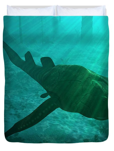 An Armored Bothriolepis Glides Duvet Cover by Walter Myers