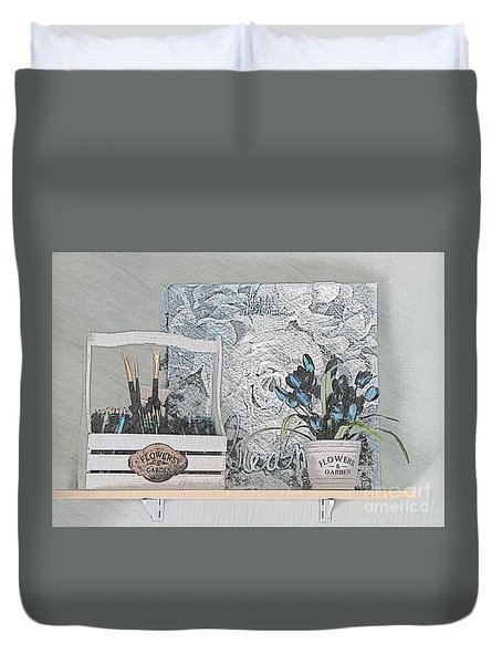 An Artist's Shelf Duvet Cover
