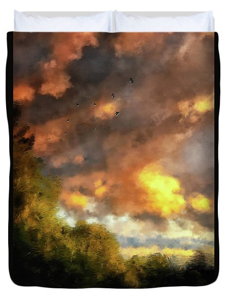 Duvet Cover featuring the digital art An August Sunset by Lois Bryan