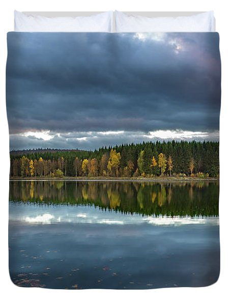 An Autumn Evening At The Lake Duvet Cover