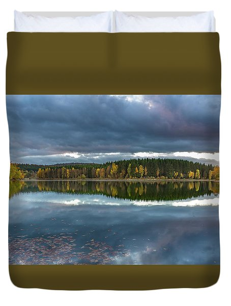 An Autumn Evening At The Lake Duvet Cover by Andreas Levi
