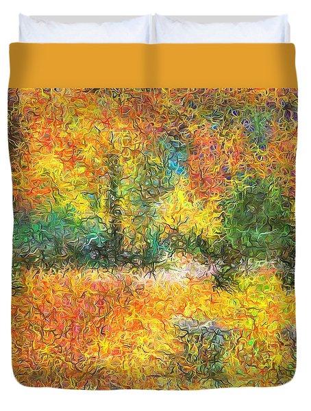 An Autumn In The Park Duvet Cover