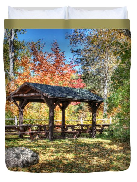 Duvet Cover featuring the photograph An Autumn Picnic In Maine by Shelley Neff