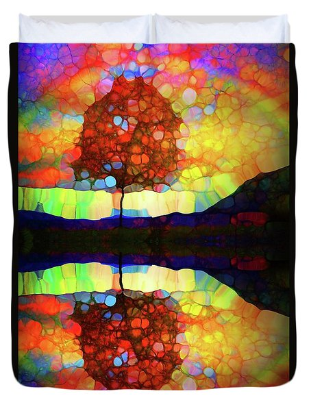 Duvet Cover featuring the digital art An Autumn Rainbow by Tara Turner
