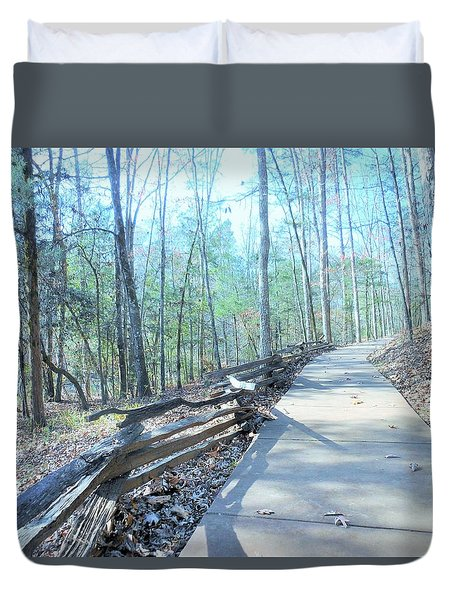 An Autumn Walk In The Woods Duvet Cover by Kay Gilley