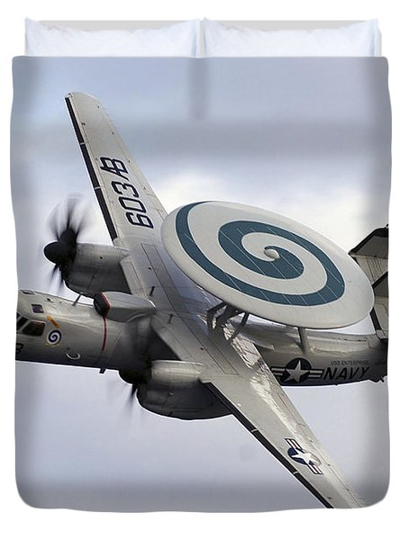 An E-2c Hawkeye Performs A Fly-by Duvet Cover by Stocktrek Images