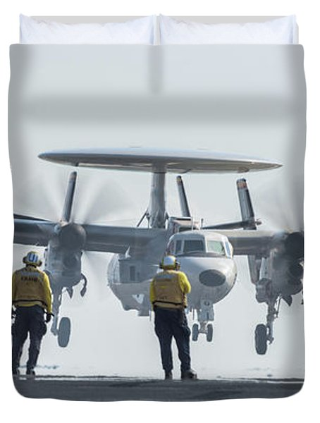 An E-2d Hawkeye  Performs A Touch-and-go On The Flight Deck Duvet Cover