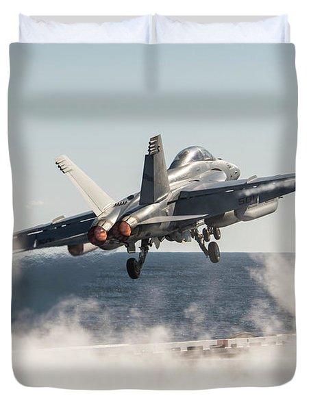 An E A-18g Growler Launches From Uss George H.w. Bush. Duvet Cover