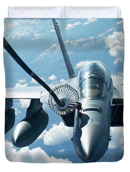 An Ea-18g Growler Conducts Air-to-air Refueling. Duvet Cover