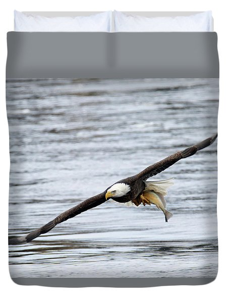An Eagles Catch 12 Duvet Cover by Brook Burling