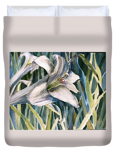 Duvet Cover featuring the painting An Easter Lily by Mindy Newman