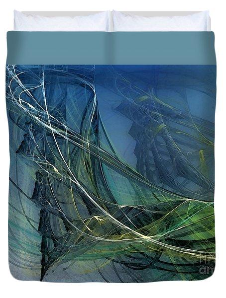 Duvet Cover featuring the digital art An Echo Of Speed by Karin Kuhlmann