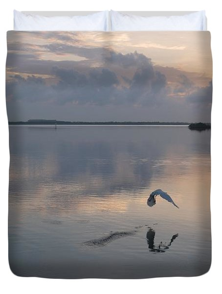 An Egret Takes Flight Duvet Cover