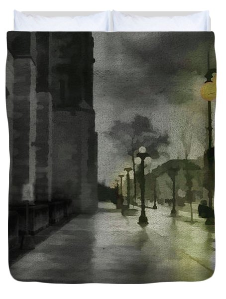 Duvet Cover featuring the mixed media An Evening In Paris by Jim  Hatch