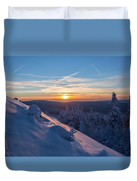 an evening on the Achtermann, Harz Duvet Cover