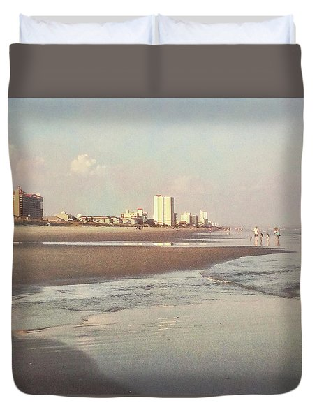 An Evening Walking The Grand Strand Duvet Cover