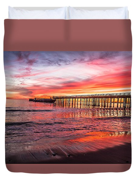 Duvet Cover featuring the photograph Seacliff Sunset by Lora Lee Chapman