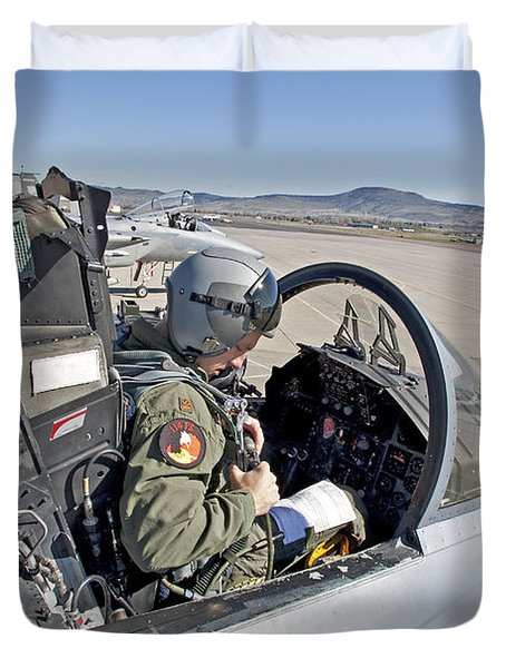An F-15 Pilot Performs Preflight Checks Duvet Cover by HIGH-G Productions