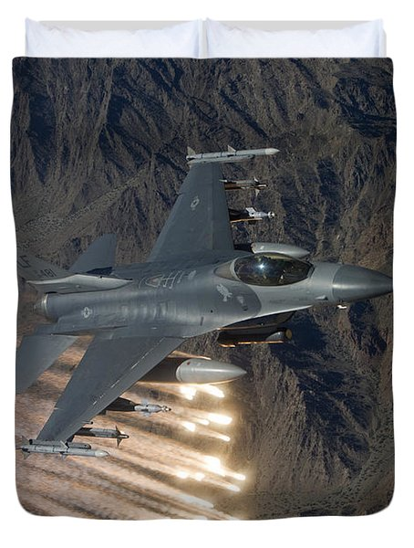 An F-16 Fighting Falcon Releases Flares Duvet Cover by HIGH-G Productions