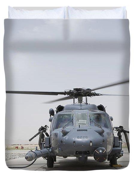 An Hh-60 Pave Hawk Lands After A Flight Duvet Cover by Stocktrek Images