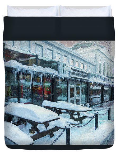 An Icy Quincy Market Duvet Cover
