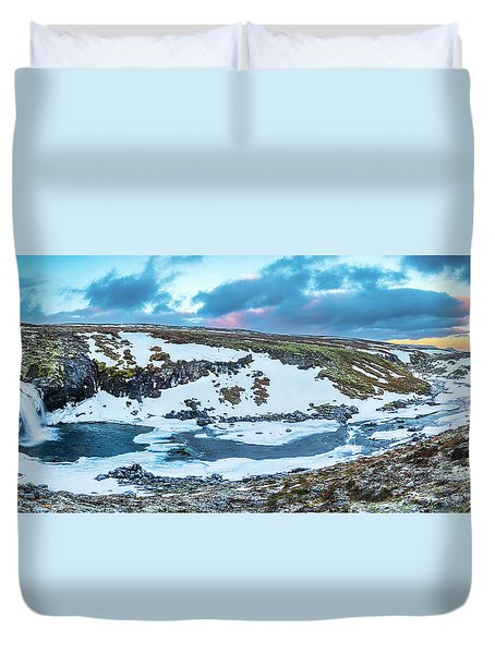 An Icy Waterfall Panorama During Sunrise In Iceland Duvet Cover