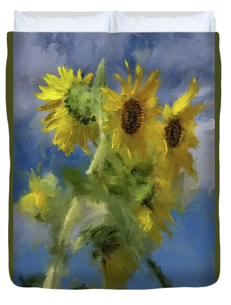 Duvet Cover featuring the photograph An Impression Of Sunflowers In The Sun by Lois Bryan