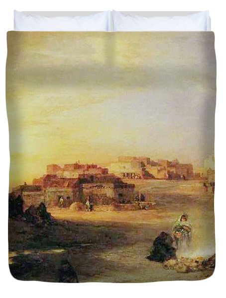 An Indian Pueblo Duvet Cover by Thomas Moran