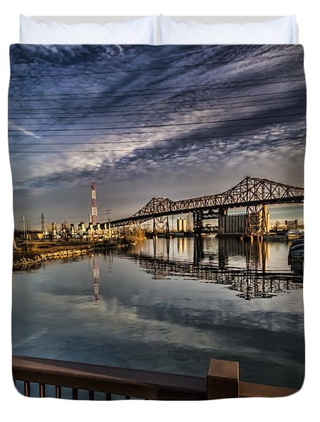 an Industrial river scene Duvet Cover