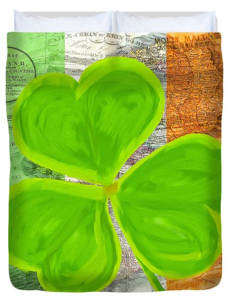 Duvet Cover featuring the mixed media An Irish Shamrock Collage by Mark Tisdale