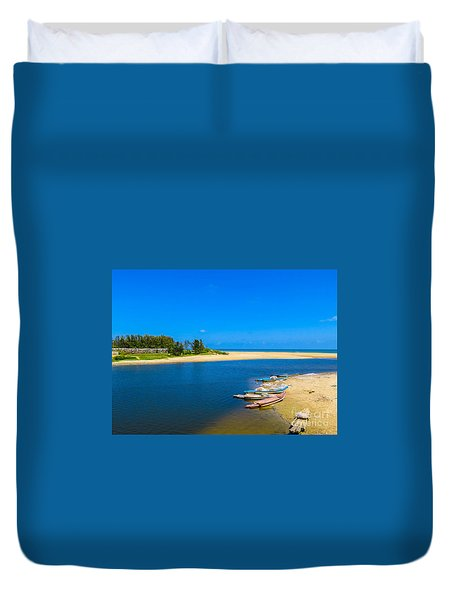 Duvet Cover featuring the painting An Island Beach by Rod Jellison