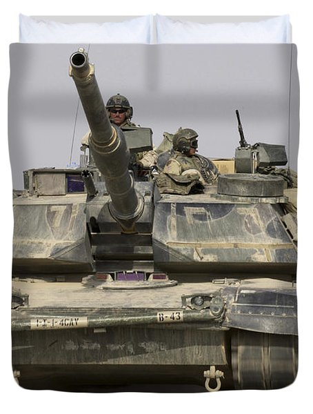 An M1a1 Abrams Tank Heading Duvet Cover by Stocktrek Images