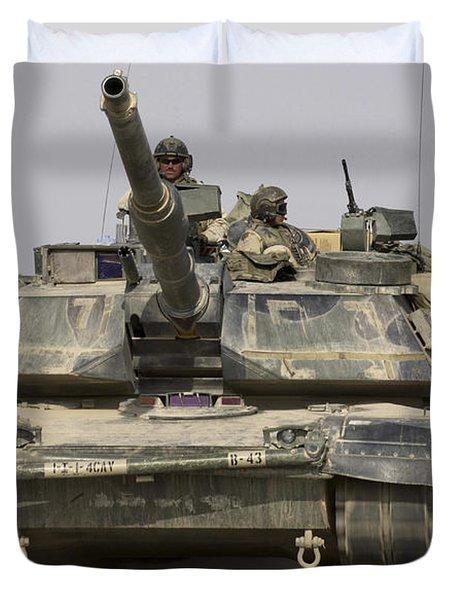 An M1a1 Abrams Tank Heading Duvet Cover by Stocktrek Images